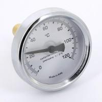Термометр биметаллический 63мм с погружной гильзой EMMETI 120 град.C гильза 50мм