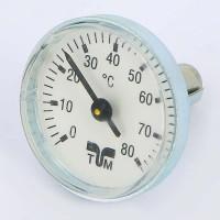 Термометр биметаллический 40мм для коллекторных групп TIEMME 80 град.C