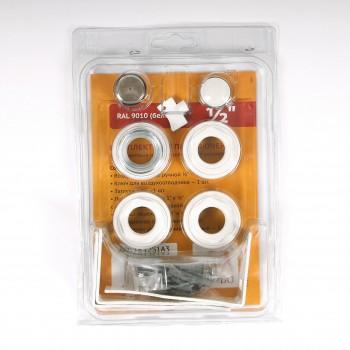 """Комплект для подключения радиатора с угловыми кронштейнами (3 шт) с силиконовой прокладкой TORIDO 1""""х1/2"""" RAL9010"""